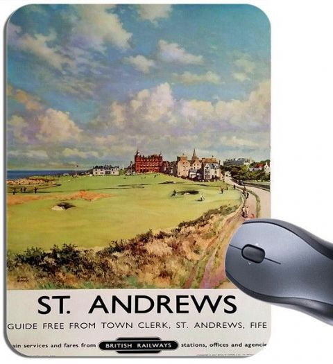 St Andrews Vintage Railway Poster Mouse Mat. Fife Scotland Golf Mouse Pad